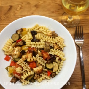 Roast Veg and Halloumi Pasta
