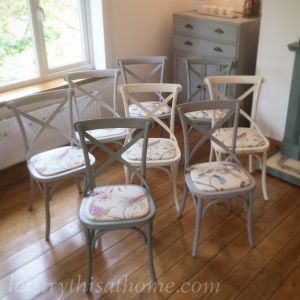 Eight upcycled chairs