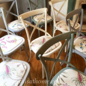 Close-up of upcycled chairs